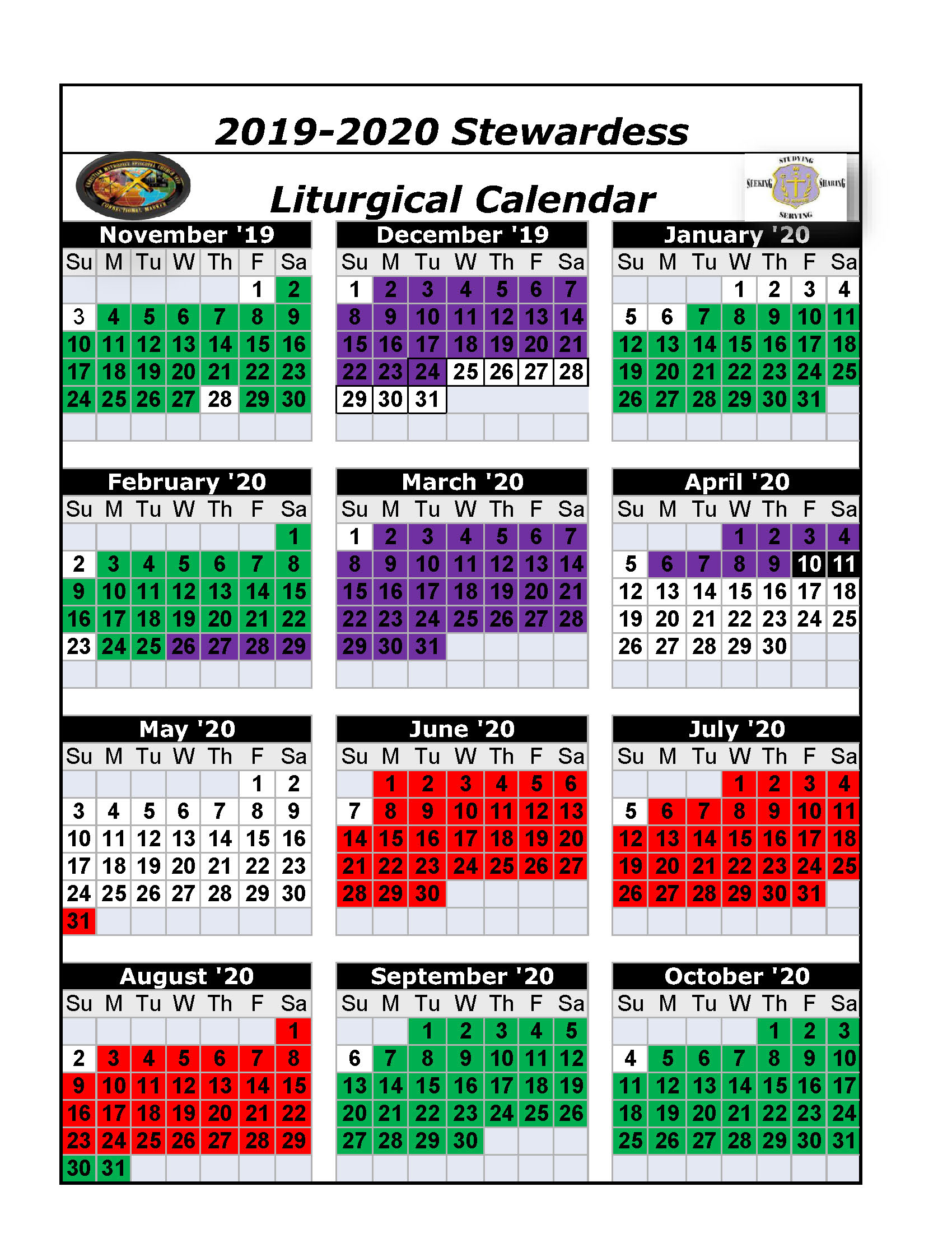Liturgical Colors 2020.The Christian Methodist Episcopal Church